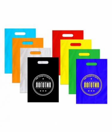 Пакеты с лого разноцветные