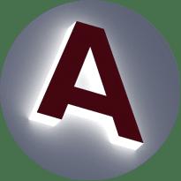 Объемные буквы с внутренней подсветкой бортов