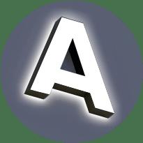 Объёмные буквы из нержавеющей стали с двойной подсветкой
